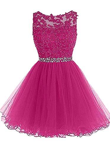 Jewel Neck Elegent Lace Beaded A-line Homecoming Dress Juniors Sweet Party Prom Dresses Hot Pink,2