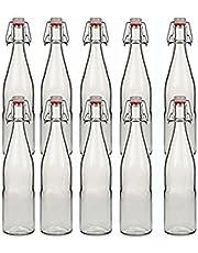 hocz 10 beugelflessen, glazen flessen, 500 ml, type A, met beugelsluiting, om zelf te vullen, beugelfles, smoothie.