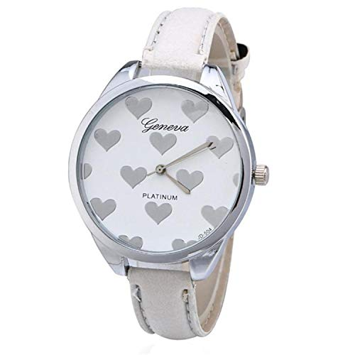 liberalism Fashion Women Heart-Shaped Watch Slim Leather Alloy Dial Quartz Wrist Watch Casual Clock Ladies Watch Relogio Feminino(White,1)