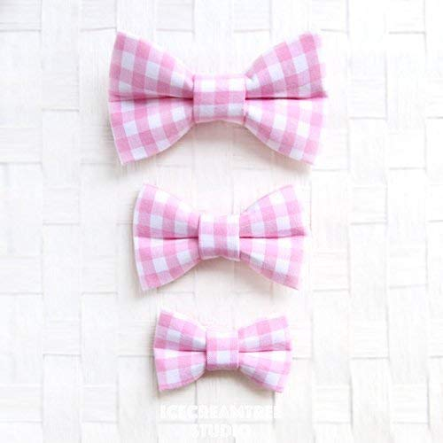 Candy Pink Gingham Check - Bow Tie Collar Slide On, Collar Add On Bowtie, Bow Collar Accessories