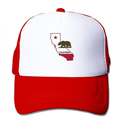(Unisex California Map Outline Flag Bear Mesh Ajustable Trucker Baseball Cap Red)