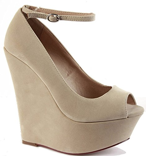 LADIES PEEP Beige PLATFORM Suede WEDGES Style SUMMER STRAPPY Faux HEEL B SIZE WOMENS SANDALS TOE HIGH WEDGE SHOES dqxFwdAIEZ