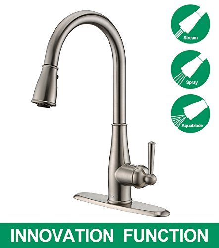 Purelux Aquablade Classic Design Single Handle 3 Setting Kitchen Faucet with Pull Down Sprayer fits 1 or 3 Hole Installation, Brushed Nickel Pull out Sprayer Kitchen Sink Faucets (Pull Single Out Step)