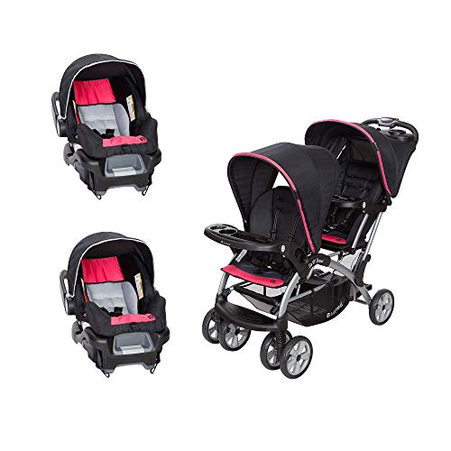 Baby Trend Sit N' Stand Double Stroller with 2 Infant Car Seats, Optic Pink