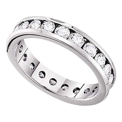 Roy Rose Jewelry 14K White Gold Ladies Channel-Set Diamond Eternity Wedding Anniversary Band 2 Carat tw ~ Size 7 (Tw 2ct Diamond Band Eternity)