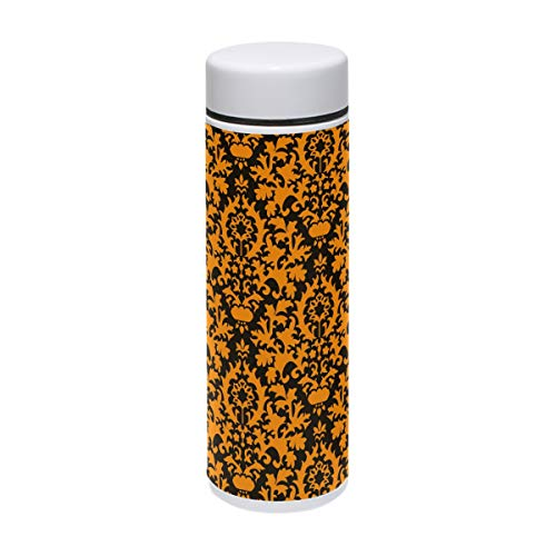 DEYYA Halloween Orange Brocade Thermos Cup Stainless Steel Tumbler Vacuum Insulated Double Wall Travel Cup, ()