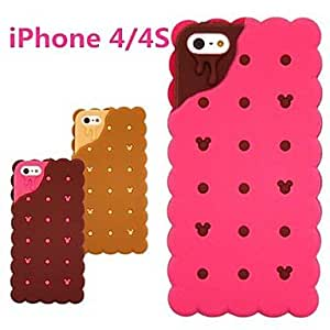 ZCL 3D Sandwich Biscuit Design Silicon Rubber Case for iPhone 4/4s(Optional Colors) , Brown
