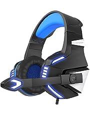VersionTECH. Casque Gaming PS4 Audio, Casque Gamer Xbox One Anti-Bruit Filaire avec Micro, LED pour PC, Nintendo Switch, Macbook, Ordinateur, Téléphone - Bleu et Noir