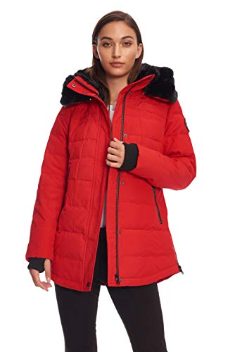 Alpine North Womens Down Short Winter Parka with Faux Fur, Crimson, ()