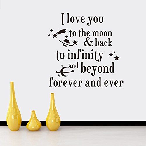 Fange DIY Removable I Love You to the Moon Back to Infinity Love Quotes Art Mural Vinyl Waterproof Wall Stickers Bed Kids Room Decor Livingroom Nursery Decal Sticker Wallpaper 20.9''x20.7'' by Fange (Image #2)