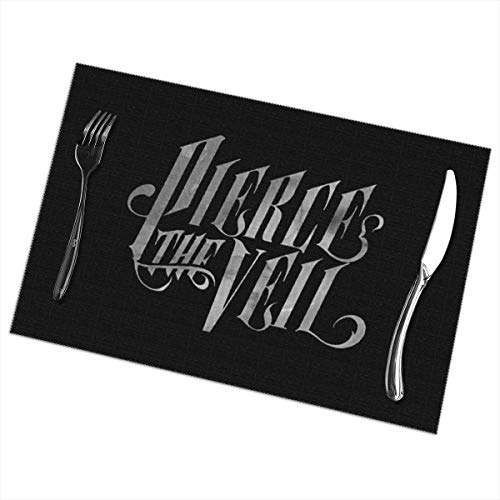 Desdemona Sakura Placemats Easy to Clean Polyester Placemat for Kitchen Table Heat-resistand Table Mats 12x18 Inches Set of 6 (Pierce The Veil) ()
