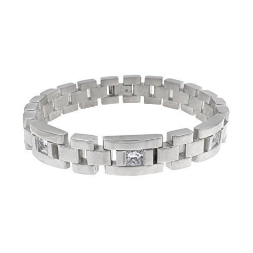Lavencious Men's Stainless Steel Chain Link Bracelet 7.5 to 8.5 Inches (Silver - 12MM - CZ - Round Rectangle)