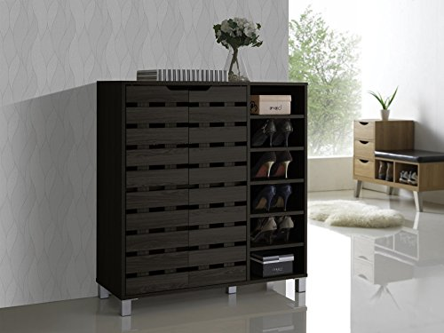 2 Door Contemporary Cabinet (Baxton Studio Shirley Modern & Contemporary Wood 2-Door Shoe Cabinet with Open Shelves, Dark)