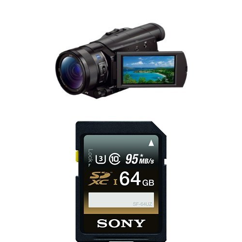 Sony FDR-AX100/B 4K Video Camera with 3.5-Inch LCD (Black) with Memory Card by Sony