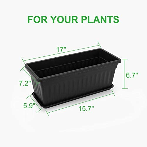 GROWNEER 6 Packs 17 x 7.2 x 6.7 Inches Black Flower Window Boxes Plastic Vegetable Planters with 15 Pcs Plant Labels, for Windowsill, Patio, Garden, Home Décor, Porch, Yard