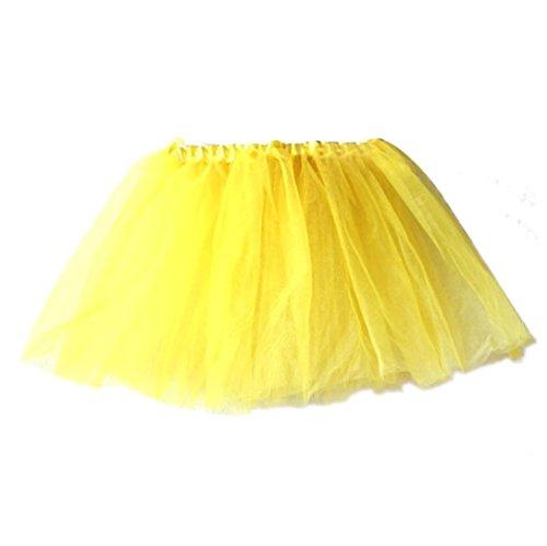 (2018 Baby Kids Girls Summer Princess Pettiskirt Party Ballet Tutu Skirt Mini Dress Dancewear 2-7 Years (Yellow, Free Size))