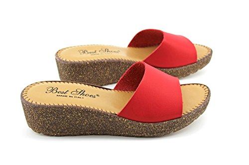 Modelisa - Sandalia Destanolada Cuña Mujer Rojo