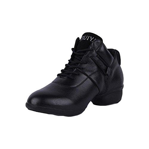Chaussures de danse femmes de jazz chaussures d'hiver chaussures de danse en cuir Soft Bottom augmentation black 39