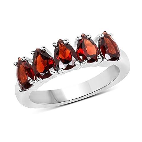 Sterling Silver Pear Cut Garnet Ladies 5 Stone Bridal Engagement Ring (Size 7) (Garnet Rings Clearance)