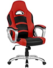 LANGRIA High-Back Computer Gaming Chair, PU Leather Ergonomic Office Chair with Padded Footrest and Armrests, Adjustable Seat Height, Tilting Back, 360 Degree Swivel, Black & Red