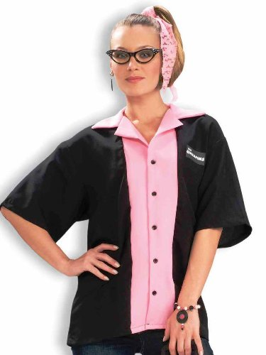 Forum Novelties Women's Flirting with The 50's Queen Pinks Bowling Shirt Costume, Black/Pink, Standard