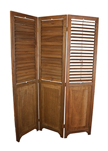 Screen Wood Panel Three (3 Panel Solid Wood Screen Room Divider with Adjustable Shutters on Top Half, Walnut Brown Color by Legacy Decor)