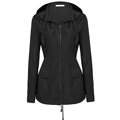 Wonvatu Rain Jacket Women Waterproof with Hood Packable Rain Trench Coat Long Sleeve Black Windbreaker for - Short Jacket Trench