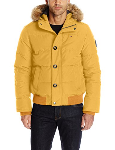 Tommy Hilfiger Men's Arctic Cloth Quilted Snorkel Bomber with Removable Faux Fur Trimmed Hood, Yellow, ()