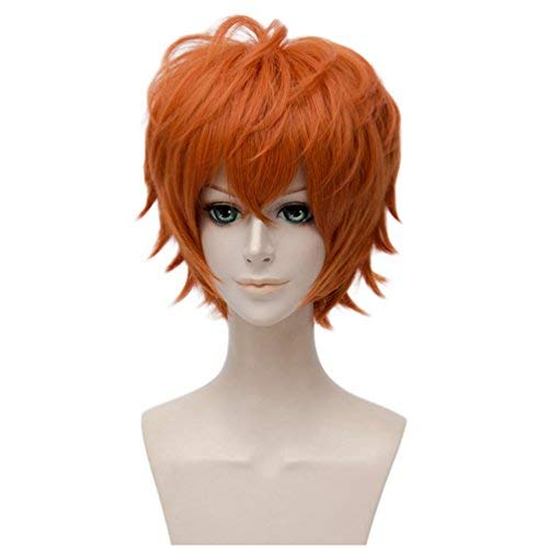 Flovex Short Straight Anime Cosplay Wigs Natural Sexy Costume Party Daily Hair (Orange)