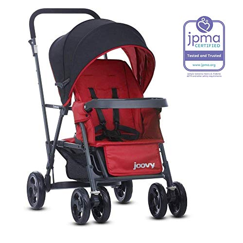 Joovy Caboose Graphite Stand On Tandem Stroller, Red (Sit And Stand Double Stroller With Car Seat)