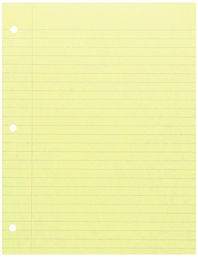 School Smart 3-Hole Punched Filler Paper, 8-1/2 x 11 Inches, Yellow, 100 Sheets - 087157 (Paper Binder Yellow)
