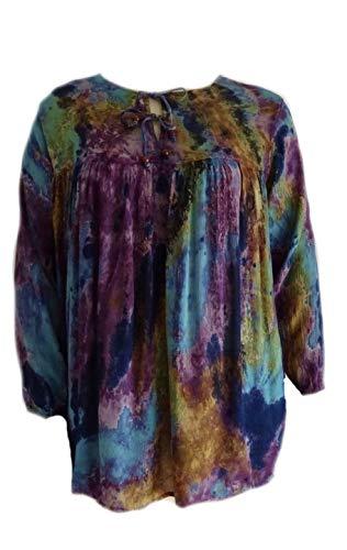 - Sacred Threads Salt Tie Dye Art to Wear Amazing Crinkle Rayon Top L XL