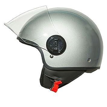 Casco Jet Moto Lift Silver talla S, casco para motocicleta con Calotta de atm,