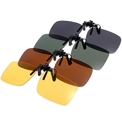 16526ff595 Punasi 4-Pack Clip-on Sunglasses Polarized Over Glass Lenses for Outdoor  Walking Driving