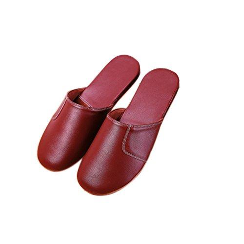 Tellw Autunno Inverno Caldo Pantofole In Pelle Morbido Fondo Casa Pack Scalp Pantofole Pantofole In Pelle Per Donne E Uomini Vino Rosso