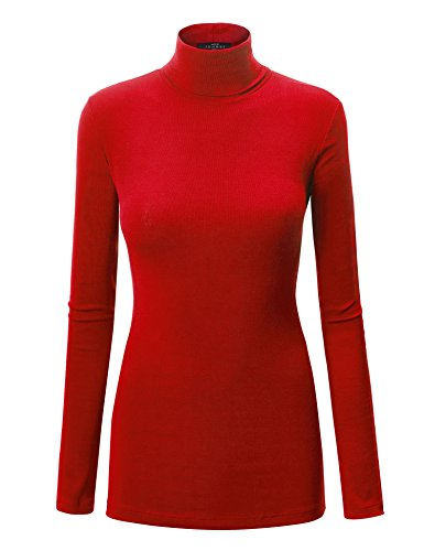 (WT950 Womens Long Sleeve Turtleneck Top Pullover Sweater XXXL RED)
