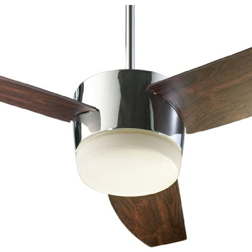 Quorum International 20543-914 Trimark 54-Inch Ceiling Fan, Chrome Finish with Satin Opal Glass and Dark Teak Blades by Quorum by Quorum