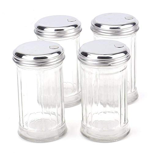 (Tebery 4 Pack Stainless Steel Flip Cap Glass Sugar Dispenser/Pourer/Shaker,12 ounce)