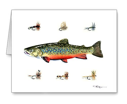 Brook Trout - Fly Fishing - Set of 10 Note Cards With Envelopes by DJ Rogers Fine Art