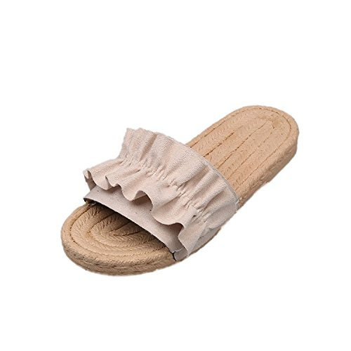 WHLShoes Sandalias y chanclas para mujer Home Sandalias Cómodo Y Ligero Desgaste Antideslizante Casual Silvestre De Tacón Bajo Fuente Plana Beige