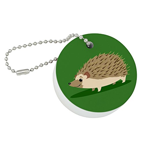 Graphics and More Hedgehog on Green Round Floating Foam Fishing Boat Buoy Key Float Keychain ()