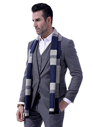Men Cashmere Plaid Knitted Scarf Soft Warm Cashmere Feel Neckwear Men Business Fine Scarves Blue & Gray by Panegy (Image #2)