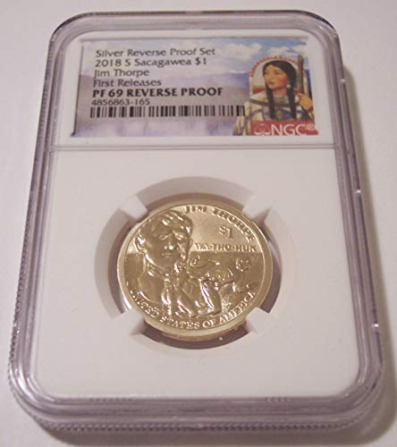 2018 S Native American - Jim Thorpe Reverse Proof Sacagawea Label Dollar PF69 NGC First Releases