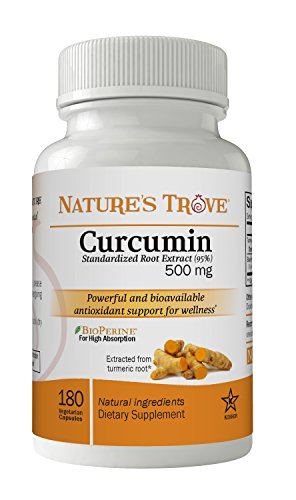 Cheap Curcumin 500 mg 95% Standardized Root Extract – Promotes Joint and Cardiovascular Health – Brain Health and Antioxidant Support – 180 Kosher Vegetarian Capsules by Nature's Trove