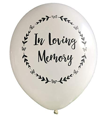 25 White 'In Loving Memory' Biodegradable Funeral Remembrance Balloons - for Memory Table, Memorial, Condolence, Celebration of Life by Angel & Dove