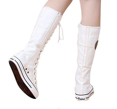 Au Botte Mode Chaussures Padgene En Montantes Casuel Toile Genou Baskets Blanc Tennis Femme Sneakers Plate waxPPXq
