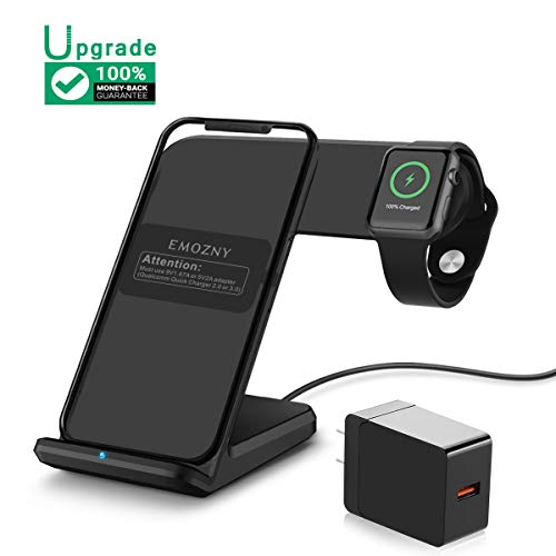 Wireless Charging Stand,Wireless Charging Station Fast with Adapter for iPhone 11/X/XR/XS/XS MAX/8/8 Plus Qi Wireless Charger 7.5W 2 in 1 Wireless Charger for Apple Watch 5 4 3 2 1