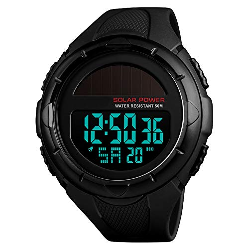 - Men's Solar Digital Sports Watch, 50M Waterproof Military Outdoor Watches Black Large Face with Stopwatch Alarm Shock Resistant LED (Black)