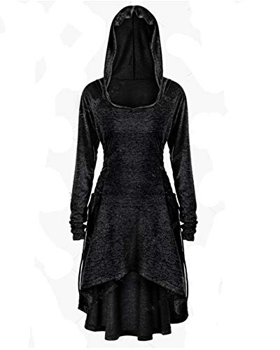 LY-VV Womens Gothic Punk Asymmetric Hem Hoodie Plus Size Vintage High Low Sweatshirts Tunic Tops (XL, Black) ()