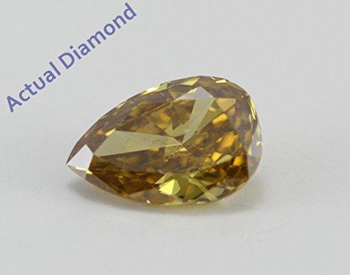 Diamant Poire taillés (0.59 Ct, Naturel Fantaisie Profond Orangey Jaune Couleur,I2 Clarté) GIA Certifié